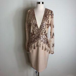 BooHoo Tall Heather Sequin & Tassel Bodycon Dress